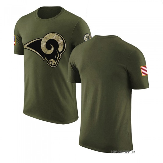 Men's Blank Los Angeles Rams Olive Salute to Service Legend T-Shirt