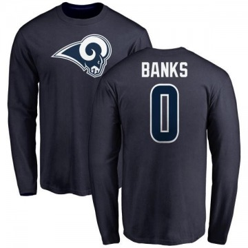 Men's Eric Banks Los Angeles Rams Name & Number Logo Long Sleeve T-Shirt - Navy