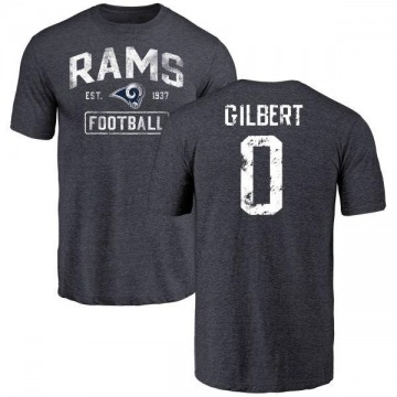 Men's James Gilbert Los Angeles Rams Distressed Name & Number Tri-Blend T-Shirt - Navy