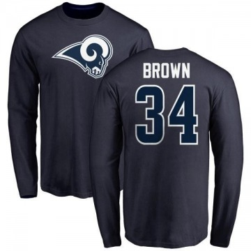Men's Malcolm Brown Los Angeles Rams Name & Number Logo Long Sleeve T-Shirt - Navy