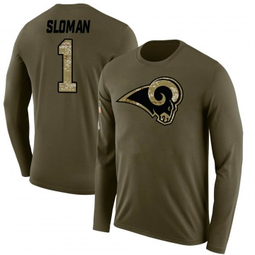 Men's Sam Sloman Los Angeles Rams Salute to Service Sideline Olive Legend Long Sleeve T-Shirt