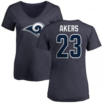 Women's Cam Akers Los Angeles Rams Name & Number Logo Slim Fit T-Shirt - Navy