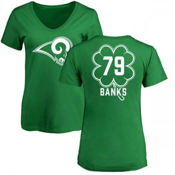 Women's Eric Banks Los Angeles Rams Green St. Patrick's Day Name & Number V-Neck T-Shirt