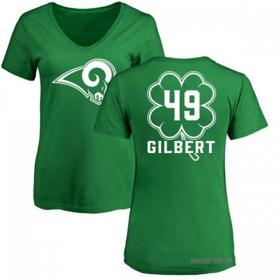 Women's James Gilbert Los Angeles Rams Green St. Patrick's Day Name & Number V-Neck T-Shirt