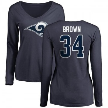 Women's Malcolm Brown Los Angeles Rams Name & Number Logo Slim Fit Long Sleeve T-Shirt - Navy