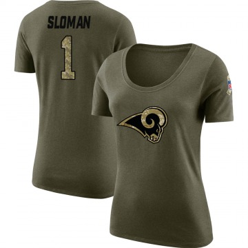 Women's Sam Sloman Los Angeles Rams Salute to Service Olive Legend Scoop Neck T-Shirt