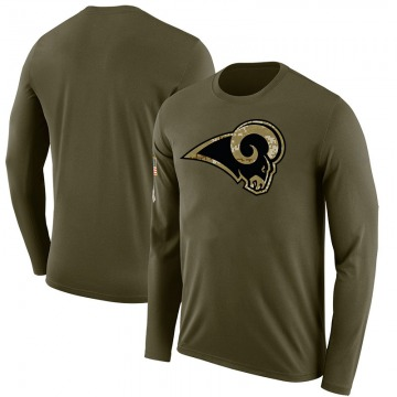 Youth Blank Los Angeles Rams Salute to Service Sideline Olive Legend Long Sleeve T-Shirt