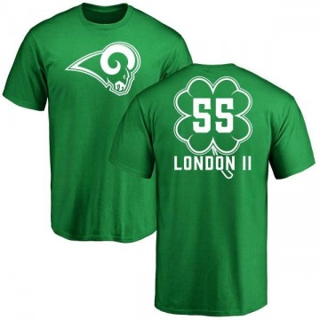 Youth Bryan London II Los Angeles Rams Green St. Patrick's Day Name & Number T-Shirt